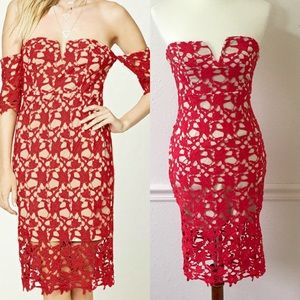 FOREVER 21 Red Lace Crochet Strapless Dress
